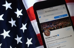 The Twitter account of President Donald Trump. (Photo by OLIVIER DOULIERY/AFP via Getty Images)