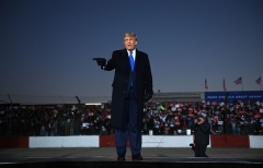 President Donald Trump rallies voters in West Salem, Wis. on October 27, 2020. (Photo by BRENDAN SMIALOWSKI/AFP via Getty Images)