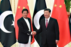 Chinese President Xi Jinping and Pakistan Prime Minister Imran Khan in Beijing last year. (Photo by Madoka Ikegami/AFP via Getty Images)
