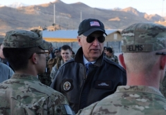 Then-Vice President Joe Biden visits a U.S. military base in Wardak province, Afghanistan, in January 2011. (Photo by Shah Marai/AFP via Getty Images)