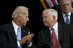Then-Defense Secretary Robert Gates and Vice President Biden in 2010. (Photo by Jim Watson/AFP via Getty Images)
