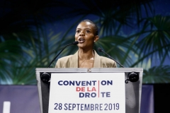 """US activist Candace Owens delivers a speech during the """"Convention de la Droite"""" in Paris on September 28, 2019. (Photo by SAMEER AL-DOUMY/AFP via Getty Images)"""