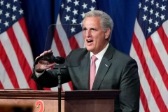 House Minority Leader Kevin McCarthy of California, speaks at the opening of the first day of the Republican National Convention, meeting in the Richardson Ballroom, Charlotte Convention Center on August 24, 2020, in Charlotte, North Carolina, to renominate Donald Trump to be President of the United States and Mike Pence to be Vice President. (Photo by CHRIS CARLSON/POOL/AFP via Getty Images)