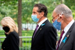 Jill Biden (L) walks with US Senator Chuck Schumer (2nd R) and New York Governor Andrew Cuomo (C) as they depart the National September 11th Memorial in New York on September 11, 2020, after attending a ceremony to mark the 19th anniversary of the attacks. (Photo by JIM WATSON/AFP via Getty Images)