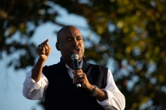 Democratic candidate for Senate Jaime Harrison addresses supporters during a socially distanced drive-in rally held at The Bend in North Charleston, South Carolina on October 17, 2020. (Photo by LOGAN CYRUS/AFP via Getty Images)