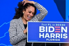 Democratic vice presidential nominee Kamala Harris speaks during a drive-in rally in Palm Beach State College in West Palm Beach, Florida, on October 31, 2020. (Photo by CHANDAN KHANNA/AFP via Getty Images)