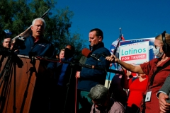 Chairman of the American Conservative Union Matt Schlapp (L) and Former Director of National Intelligence Ric Grenell, (C) attend a press conference by members of the Donald J. Trump for President, Inc., outside Clark County Election Department on November 5, 2020, in North Las Vegas. (Photo by RONDA CHURCHILL/AFP via Getty Images)