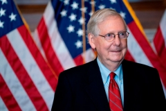 Senate Majority Leader Mitch McConnell, a Republican from Kentucky, stands for a photo at the US Capitol in Washington, DC, on November 9, 2020. (Photo by STEFANI REYNOLDS/POOL/AFP via Getty Images)