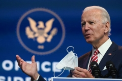 "President-elect Joe Biden answers questions from the press at The Queen in Wilmington, Delaware on November 16, 2020. - US President-elect Joe Biden expressed frustration on November 16, 2020 about Donald Trump's refusal so far to cooperate on the White House transition process, saying ""more people may die"" without immediate coordination on fighting the coronavirus pandemic. (Photo by ROBERTO SCHMIDT/AFP via Getty Images)"