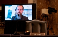 Jack Dorsey, Chief Executive Officer of Twitter, testifies remotely during the Senate Judiciary Committee hearing on 'Breaking the News: Censorship, Suppression, and the 2020 Election' on Capitol Hill on November 17, 2020 in Washington, DC. (Photo by BILL CLARK/POOL/AFP via Getty Images)