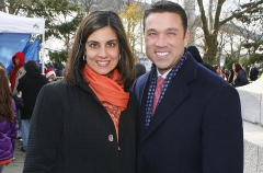 Assembly Woman Nicole Malliotakis and Congressman Michael Grimm attends the Help Santa Stuff a Buss Full of Toys event at the Cannon Ball Park on December 10, 2011 in New York City. (Photo by John Lamparski/WireImage)