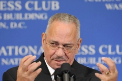 The Reverend Dr. Jeremiah A. Wright Jr., senior pastor of the Trinity United Church of Christ in Chicago, speaks at the National Press Club. (Photo credit: Ken Cedeno/Corbis via Getty Images)