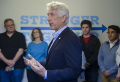 Virginia Attorney General Mark Herring speaks at a 2016 Hillary Clinton campaign event. (Photo credit: Leigh Vogel/WireImage)