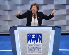 Randi Weingarten, president of the American Federation of Teachers (AFT), addresses delegates on the first day of the Democratic National Convention at Wells Fargo Center on July 25, 2016. (Photo credit: SAUL LOEB/AFP via Getty Images)
