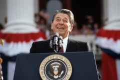 Former President Ronald Reagan gives a speech. (Photo credit: © Wally McNamee/CORBIS/Corbis via Getty Images)