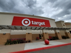 Logo is visible on facade at Target retail store under dramatic sky in San Ramon, Calif. (Photo credit: Smith Collection/Gado/Getty Images)