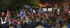 Supporters of President Donald Trump rally in front of an Arizona ballot counting building. (Photo credit: YouTube/CBS This Morning)