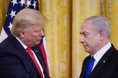 President Trump and Israeli Prime Minister Binyamin Netanyahu at the White House early this year. (Photo by Mandel Ngan/AFP via Getty Images)