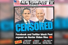 The explosive New York Post story on the Biden laptop was censored by Twitter and Facebook and largely ignored by the liberal media.  (Screenshot)