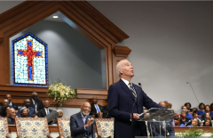 Joe Biden at the New Hope Baptist Church in Jackson, Miss., March 8, 2020. (Phot by MANDEL NGAN/AFP via Getty Images)