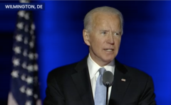 Joe Biden speaking in Wilmington, Del., after interrupting the Clemson-Notre Dame game. (Screen Capture)