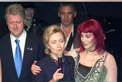 Cher with President Bill Clinton and First Lady Hillary Clinton in New York City, Oct. 25, 2000. (TIM SLOAN/AFP via Getty Images)