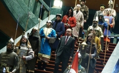 Turkish President Recep Tayyip Erdogan descends a stairway at the presidential palace in Ankara, flanked by soldiers wearing uniforms of the Ottoman Empire, which ended almost a century ago. (Photo by Adem Altan/AFP via Getty Images)