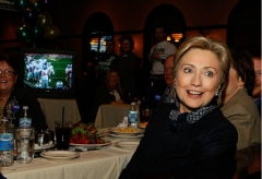 Then-Sen. Hillary Clinton at a Super Bowl-watching party in St. Paul, Minn., Feb. 3, 2008. (Photo by Justin Sullivan/Getty Images)