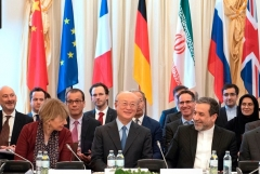 At a previous meeting in Vienna of the Iran nuclear deal's 'joint commission' are E.U. foreign policy secretary-general Helga Schmid, IAEA director-general Yukiya Amano, and Iranian foreign ministry representative Abbas Araghchi. (Photo by Joe Klamar/AFP via Getty Images)
