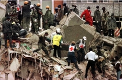 The aftermath of the Aug. 7, 1998 bombing of the U.S. Embassy in Nairobi. (Photo by AFP via Getty Images)