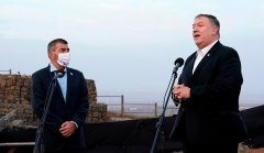 Secretary of State Mike Pompeo and Israeli Foreign Minister Gabi Ashkenazi on the Golan Heights, overlooking Syria, on Thursday. (Photo by Patrick Semansky/Pool/AFP)