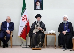 Iranian supreme leader Ayatollah Ali Khamenei with President Hasan Rouhani and Foreign Minister Javad Zarif. (Photo: Office of the Supreme Leader)