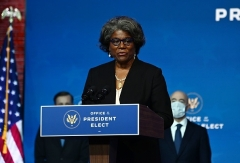 U.S. Ambassador to the U.N.-nominee Linda Thomas-Greenfield speaks in Wilmington, Delaware on Tuesday. (Photo by Chandan Khanna/AFP via Getty Images)