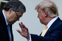 Attorney General William Barr with President Donald Trump are pictured here in July 2019. (Photo by BRENDAN SMIALOWSKI/AFP via Getty Images)