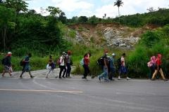 Honduran migrants are seen heading to the US, near Izabal, Guatemala on October 2, 2020. (Photo JOHAN ORDONEZ/AFP via Getty Images)
