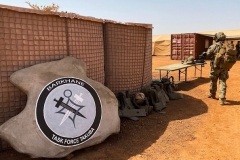 At a military base in Menaka, eastern Mali, the logo of the new France-led Barkhane Task Force Takuba mission. (Photo by Daphne Benoit/AFP via Getty Images)