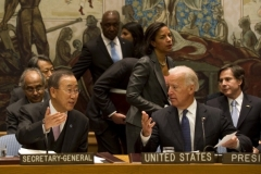 Vice President Joe Biden chairs a U.N. Security Council meeting in 2010. Also in the photo are then-U.N. secretary-general Ban Ki-moon and U.S. ambassador to the U.N. Susan Rice. (Photo by Don Emmert/AFP via Getty Images)