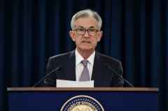 Federal Reserve Board Chairman Jerome Powell speaks at a news confernce after a Federal Open Market Committee meeting on September 18, 2019 in Washington, DC.  (Photo by OLIVIER DOULIERY/AFP via Getty Images)