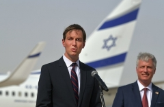 White House senior advisor Jared Kushner speaks alongside National Security Advisor Robert O'Brien at Abu Dhabi international airport after taking the first commercial flight from Israel to the UAE. (Photo by Karim Sahib/AFP via Getty Images)