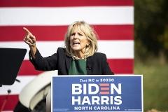 Dr. Jill Biden, wife of Democratic U.S. presidential nominee Joe Biden, speaks on Oct. 31, 2020 in Charlotte, North Carolina. (Photo credit: Jeff Hahne/Getty Images)