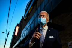 Joe Biden talks to the media outside the Queen theatre after announcing the new members of his potential cabinet. (Photo credit: CHANDAN KHANNA/AFP via Getty Images)