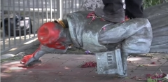 Pictured is a toppled statue of St. Junipero Serra in Los Angeles, Calif. (Photo credit: Junipero Serra_YouTube/ABC7)