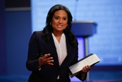 Moderator Kristen Welker arrives for the final presidential debate at Belmont University in Nashville, Tenn. (Photo credit: BRENDAN SMIALOWSKI/AFP via Getty Images)