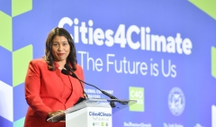 San Francisco Mayor London Breed speaks during the C40 Cities For Climate The Future Is Us kickoff event at San Francisco's City Hall on Sept. 12, 2018. (Photo credit: JOSH EDELSON/AFP via Getty Images)