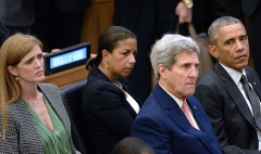 National Security Advisor Susan Rice, center, with President Obama, Secretary of State John Kerry, and Ambassador to the U.N. Samantha Power, at the U.N. General Assembly in 2014. (Photo by Anthony Behar-Pool/Getty Images)