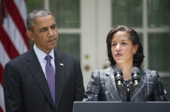 Former National Security Advisor Susan Rice and President Obama at the White House in 2013. (Photo by Jim Watson/AFP via Getty Images)