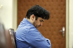 Dissident journalist Ruhollah Zam, seen here on trial in the Revolutionary Court in Tehran last June, was hanged on Saturday. (Photo by Ali Shirban/Mizan News/AFP via Getty Images)