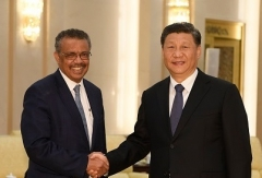 World Health Organization director-general Tedros Adhanom meets with Chinese President Xi Jinping in late January 2020. (Photo by Naohiko Hatta/AFP via Getty Images)