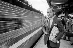 Then-Senator Joe Biden, seen here in 1988 on the Amtrak platform in Wilmington, Delaware, was a rail commuter for many years. (Photo by Joe McNally/Getty Images)