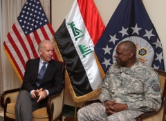 Then-Vice President Joe Biden meets with General Lloyd Austin, the commander of United States Forces-Iraq in Baghdad on November 29, 2011. (Photo by AHMAD AL-RUBAYE/AFP via Getty Images)
